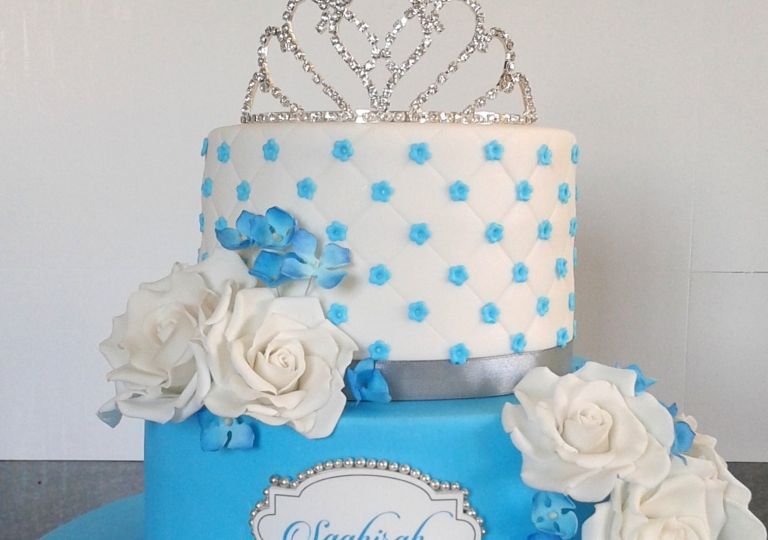 Blue & White 21st Birthday Cake